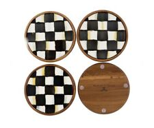 Mackenzie Childs Courtly Check Enamel Wood Coasters New In Box Set 4