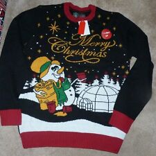 NEW UGLY CHRISTMAS HOLIDAY Sweater Men S Small Snowman Igloo Lights Up NWT