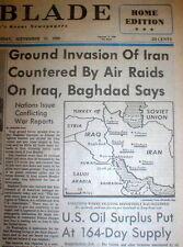 1980 headline newspaper IRAN-IRAQ WAR BEGINS as Sadaam Hussein invades Iran