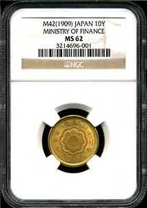 Japan M42(1909) 10Y Gold Ministry of Finance MS62 NGC 3214696-001