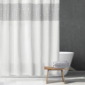 "mDesign Cotton Bathroom Shower Curtain, Modern Print, 72"" x 72"" - White/Black"