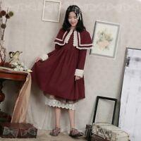 Japanese Mori Girl Long Sleeve A-line Dress Sweet Shawl Dress Midi Skirt 2Colors