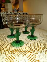 Vintage & Unique set of 4 Large  Margarita Glasses ~ Green Saguaro Cactus Stems