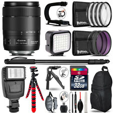 Canon 18-135mm IS USM -Video Kit + Slave Flash + Monopad - 32GB Accessory Bundle