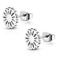 Stainless Steel Sunflower Floral Circle Round Button Flower Stud Post Earrings
