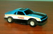 1979 Tyco HO Scale Turquoise & White Mustang Turbo Slot Car