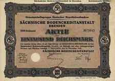 Sächsische Bodencreditanstalt 1930 Dresden Aktie1000 RM Bremen Köln Eurohypo RAR