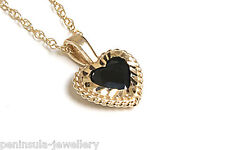 """9ct Gold Sapphire Heart Pendant and 18"""" Chain Gift Boxed Made in UK"""