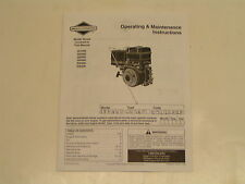 Briggs & Stratton Small Ohv Engine Operator'S Manual- Model#200000 Series 00004000