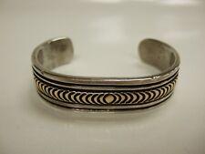 Signed Vintage Navajo Hand-Stamped Sterling Silver & 14KT Cuff Bracelet - Signed