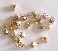 20 Chapado en Oro Pequeño (4 mm) de 4 Clavijas Bell gorras, resultados para la fabricación de joyas