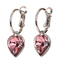 Swarovski Elements Crystal Light Rose Heart Earrings Rhodium Authentic New 7341c