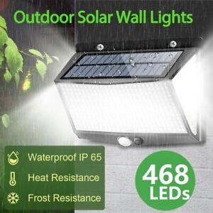 468 LED Wall Lights Solar Waterproof Motion Sensor Outdoor Garden Fence Lamp New