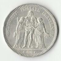 FRANCE Pièce de 5 FRANCS 1876 A HERCULE - argent 900% - 25 g. BELLE MONNAIE