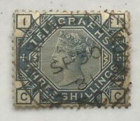 GB Telegraph stamps 1881 3/- slate blue Crown wmk used SG T.12. (Ct £3800)