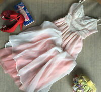 "Vintage 1950's Schiaparelli lingerie - Nightgown - Pink Nylon - XS/S B:32"" W:26"""