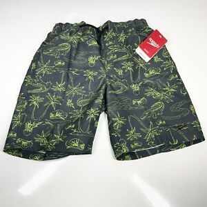 "Boy's Speedo Roc Explode Swimming Shorts Large 27-28"" Waist Green Black (1351)"