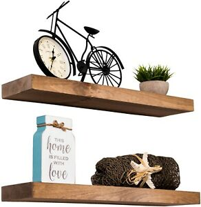 "True Floating Wood Shelves Rustic Wall Shelf Set of 2 Rough Cut Lumber 24""X5.5"""