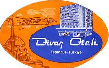 Vintage Hotel Luggage Label DIVAN OTELI Istanbul Turkey Turkiye