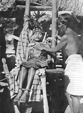 PHILIPPINES. A Bontoc Igorot woman lying in State; death 1900 old print
