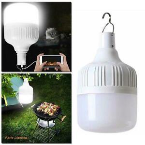 1 USB Rechargeable Solar LED Bulb Lamp Emergency Night Light Market Camping P1T6