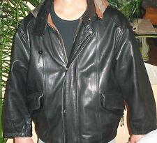 """"""" DOUGLAS JUNIOR """" blouson CAPUCHE cuir T46 Vintage JACKET VESTE"""
