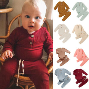Newborn Baby Girl Boy Romper Jumpsuit Playsuit Pants Babygrows 2pcs Outfits Set