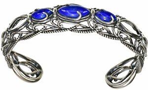 Carolyn Pollack Blue Lapis gemstone Sterling Silver size Small Cuff Bracelet