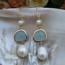FC101612 10x13MM White Rice Pearl Blue Glass Gold Plated Hook Earrings