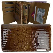 7773c9f09bd99 elegante Portemonnaie Damenlederbörse Damen Geldbörse Kroko-Lock Leder Neu  Taupe