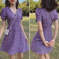 US Womens Short Sleeve V Neck Floral Beach Holdiay Mini Dress Casual Plain Dress