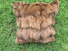 Khaki Genuine Fox Sections Fur Pillow 18 X 18 Fur Cushion Real Fur Throw Cover