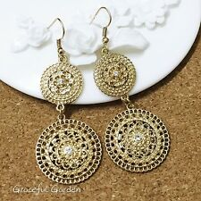 ER3045 Graceful Garden Vintage Style Gold Tone Filigree Rhinestones Earrings