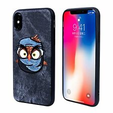 iPhone X Fabric Case with Angry Bird Embroidery for Apple iPhone X 2017 (gray+bl