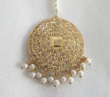Gold Plat Indian Bridal Jadau Round Maang Tika Punjabi Gold Head Tikka Jewelry