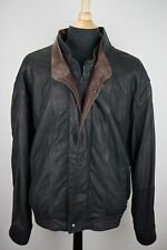 Remy Double Collar Black Brown Contrast Leather Bomber Jacket Sz 3XB BIG GUY