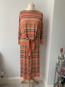 Kilky Paris Ladies Orange Striped Metalic Knitted Co-Ord Set UK 10-12