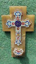 Antique French Gilt Enamel Cloisonne Holy Water Font/Stoup Crucifix Onyx Cross