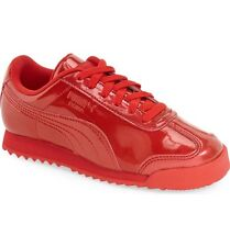 PUMA ROMA ANO PATENT SNEAKER SHOES RED YOUTH SIZE 6.5C RIHANNA