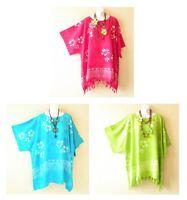 Batik Hibiscus Tunic Plus Kaftan Kimono Poncho Women Blouse Top 2X, 3X, 4X, 5X
