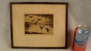 Antique Signed Hans Kleiber Stormy Afternoon Duck Etching
