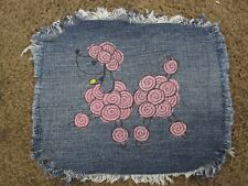 Embroidered Dark Pink Poodle Large Denim Fray Patch / Quilt Square Block