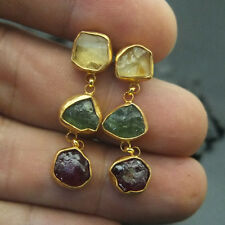 Handmade Designer Citrin Apatite & Ruby Earring  22K Gold over Sterling Silver
