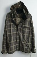Orage Men's Green Check Winter Hooded Coat Size M