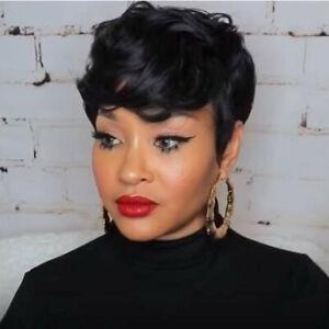 Short Hair Wig Human Hair Curly Wig for Black Women Short Black Pixie Cut