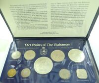 .SUPERB SET. 1971 BAHAMAS 9 COIN UNC SET + ORIGINAL FOLDER by FRANKLIN MINT.