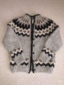 HILDA MINT MINT  Iceland Traditional Heavy Hand-Knit Wool Women's Sweater Sz S