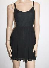 Ladakh Designer Black Fit Flare Lace Up Back Chiffon Dress Size 8-XS BNWT #SH01