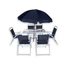 Arredo da esterno tavolo 6 sedie in ferro ombrello blu arredamento giardino|w2