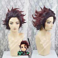 Demon Slayer Kimetsu no Yaiba wig Kamado Tanjirou Anime Cosplay Wig
